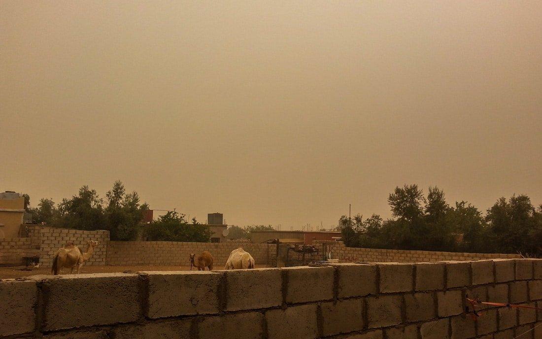 sandstorm in wadi rum village