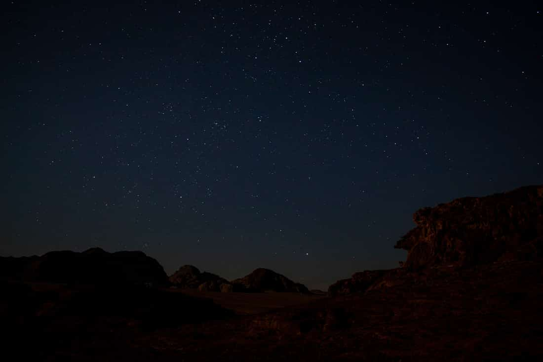 starry night sky during the perseid meteor shower