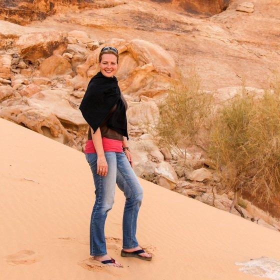 bianca enjoying wadi rum desert