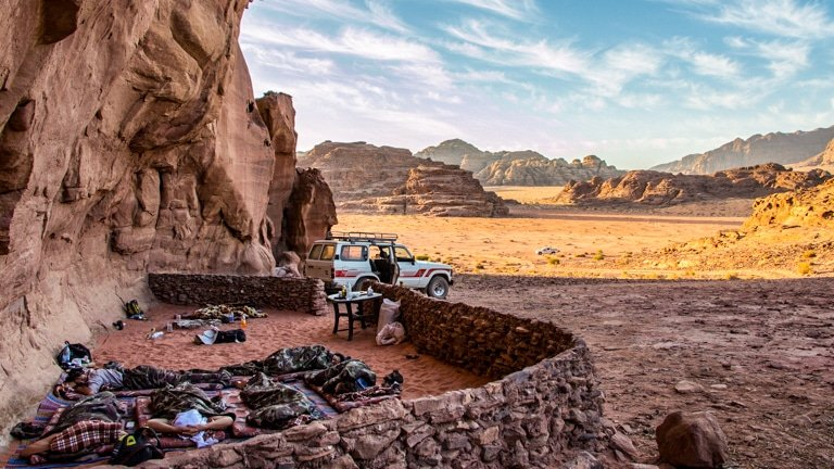wadi rum - bivouac camping - sleeping outdoors in the Wadi Rum Nomads cave