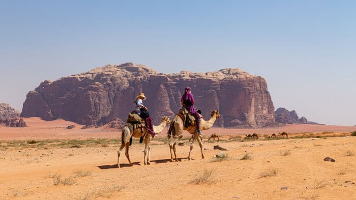 guests on a camel ride in wadi rum