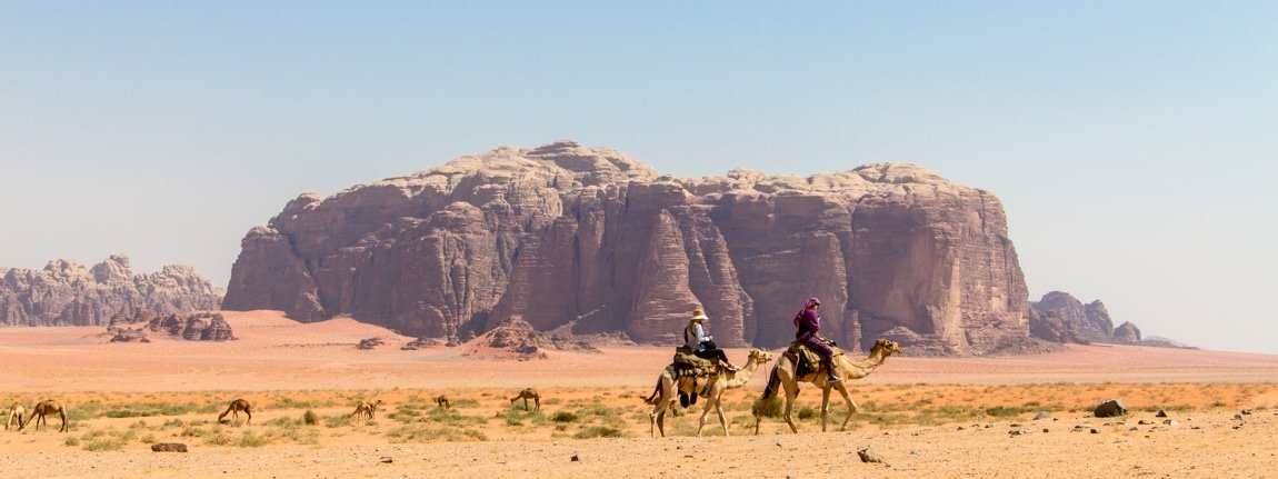 guests camel riding in wadi rum desert