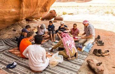 having lunch wadi rum nomads style