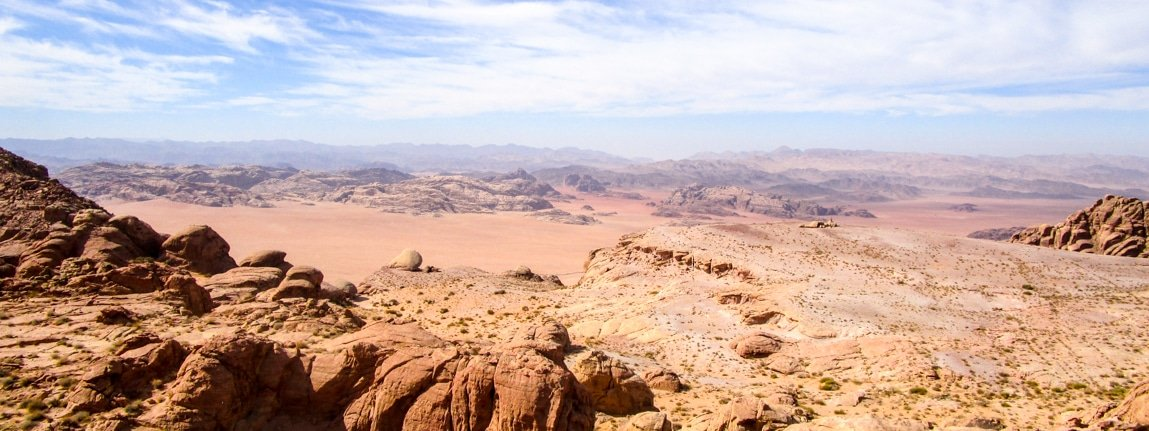 view on wadi rum from jabal al-hash while on tour with Wadi Rum Nomads