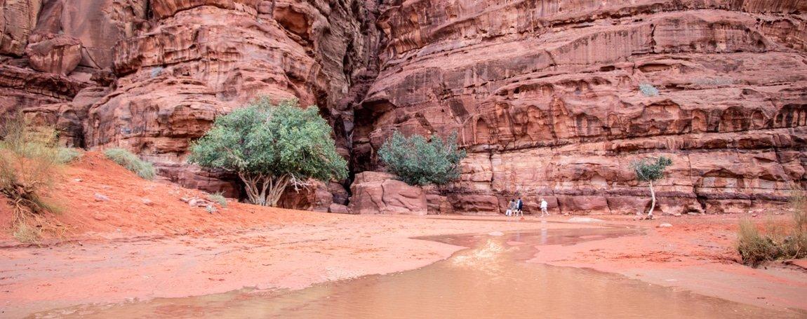 river emerging from khazali canyon after rainfall