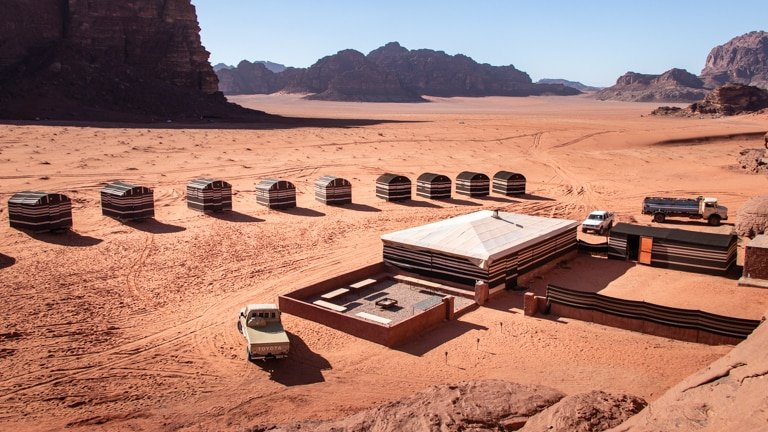 wadi rum - view on our camp, wadi rum base camp