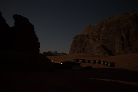 view on wadi rum base camp during full moon