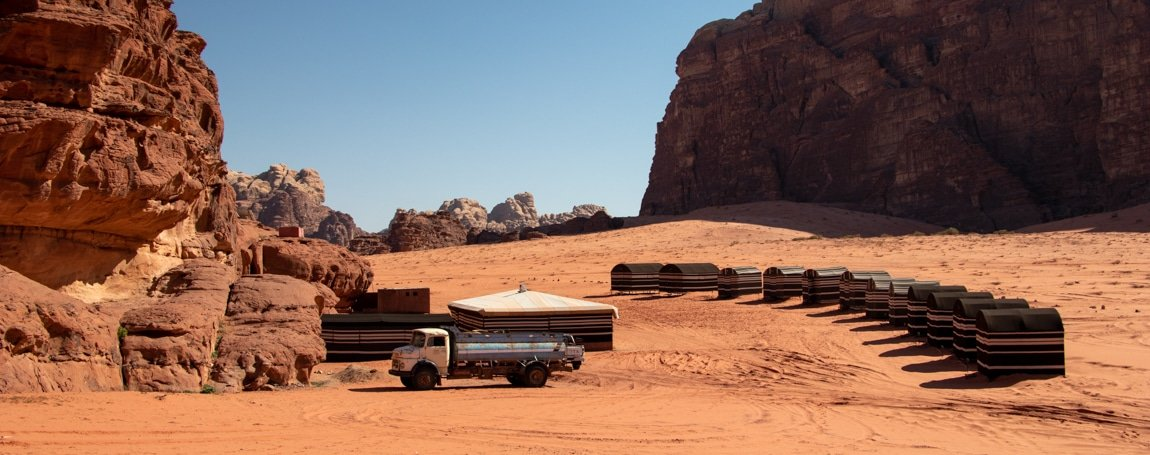 view on wadi rum base camp mid-afternoon