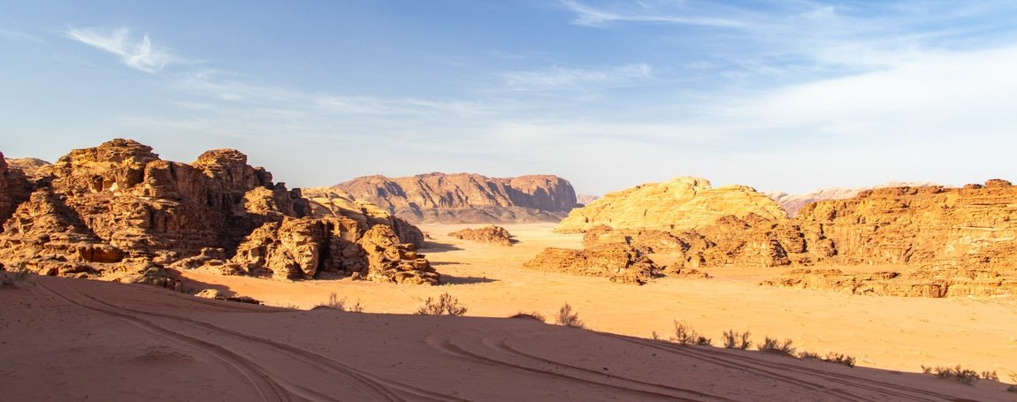 view on wadi rum desert mid-afternoon