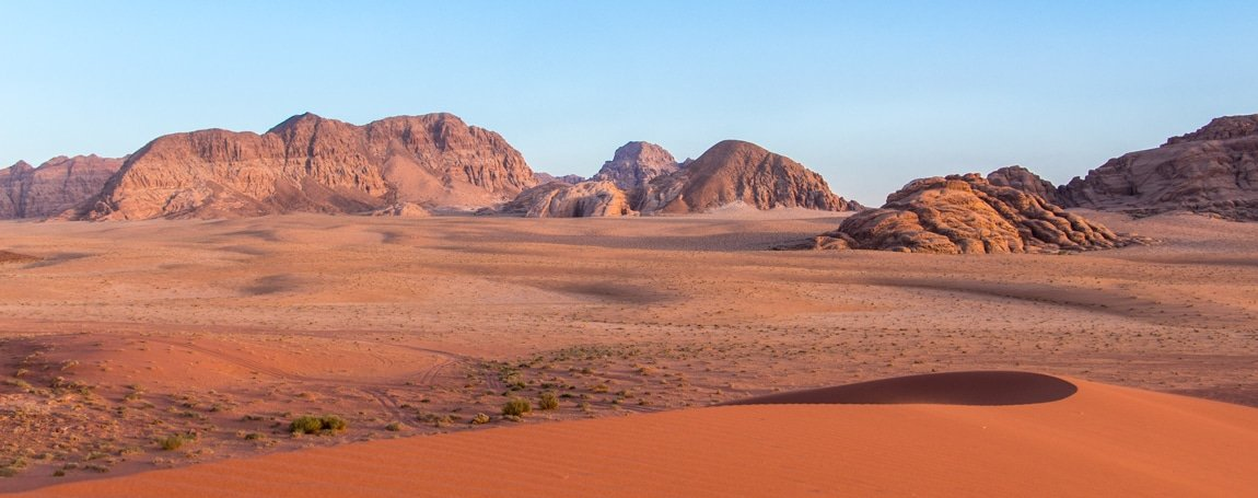 view on wadi rum desert around sunset time