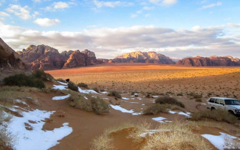 winter vacation with snow in wadi rum